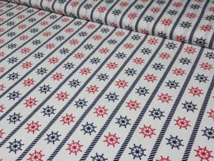 Bavlněná látka kormidla šíře 160 cm bílá/modrá/červená
