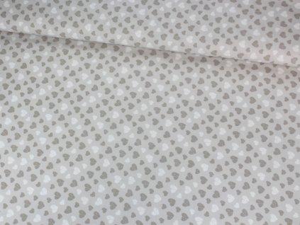 Bavlněná dekorační látka se srdíčky