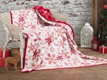 Vánoční bavlněná deka Vločky 160x220 cm