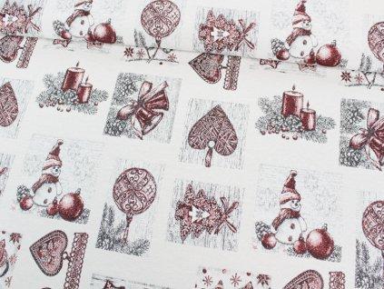 Gobelínová dekorační látka vánoční In Christmas 5402-03POP bronzová šíře 160 cm