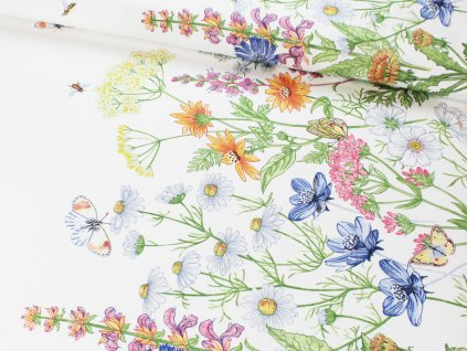 Dekorační látka s květinovým vzorem šíře 140 cm