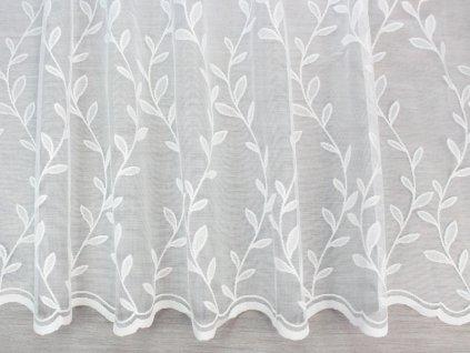 Žakárová záclona se vzorem bílá