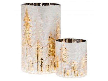 Svícen se zlatými stromy výška 20 cm