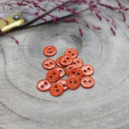 knoflík třpytky tangerine, 9 mm