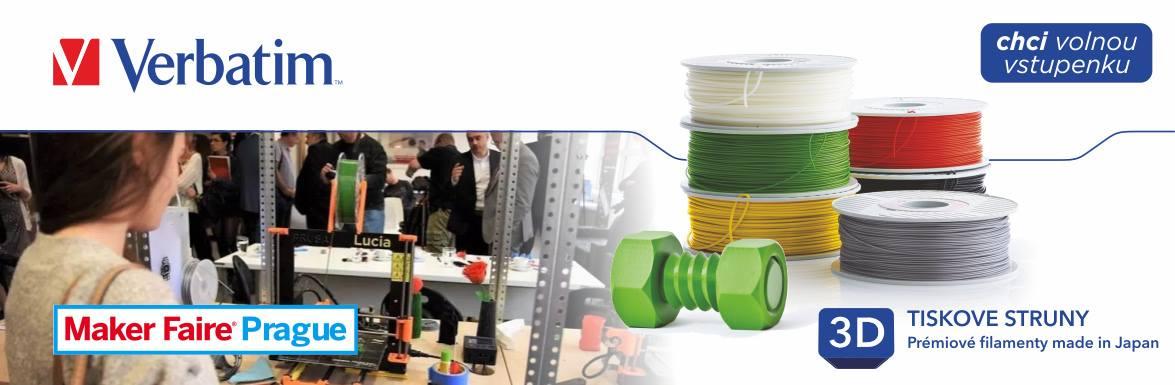 Volná vstupenka na Maker Faire v Praze 23.-24.6.2018 při nákupu libovolných 3 tiskových strun Verbatim