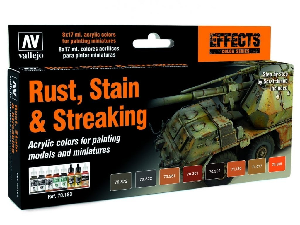 Vallejo Model Color Effects Set 70183 Rust, Stain & Streaking (8) by Scratchmod