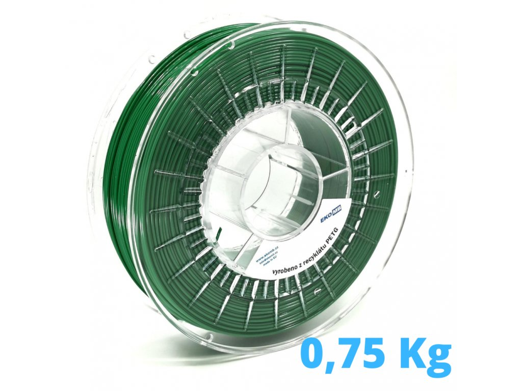 PET-G filament z recyklátu 1,75 mm smaragdovo zelený EKO-MB 0,75 kg