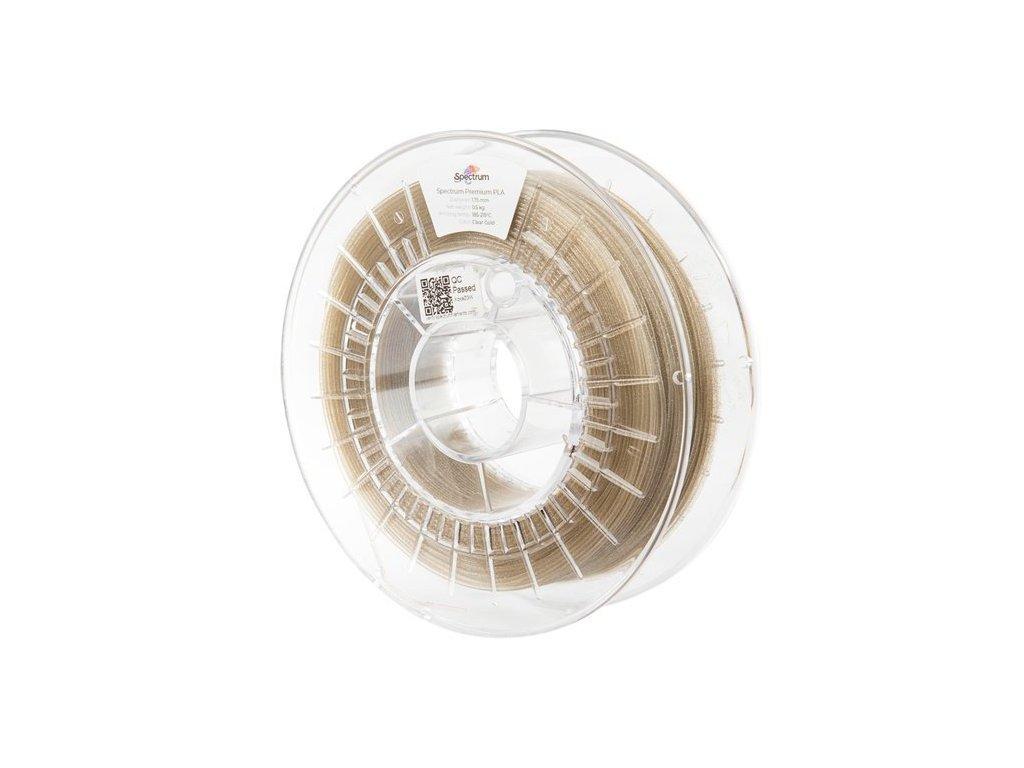 Transparentný filament so zlatými trblietkami Spectrum PLA 1,75mm 0,5kg