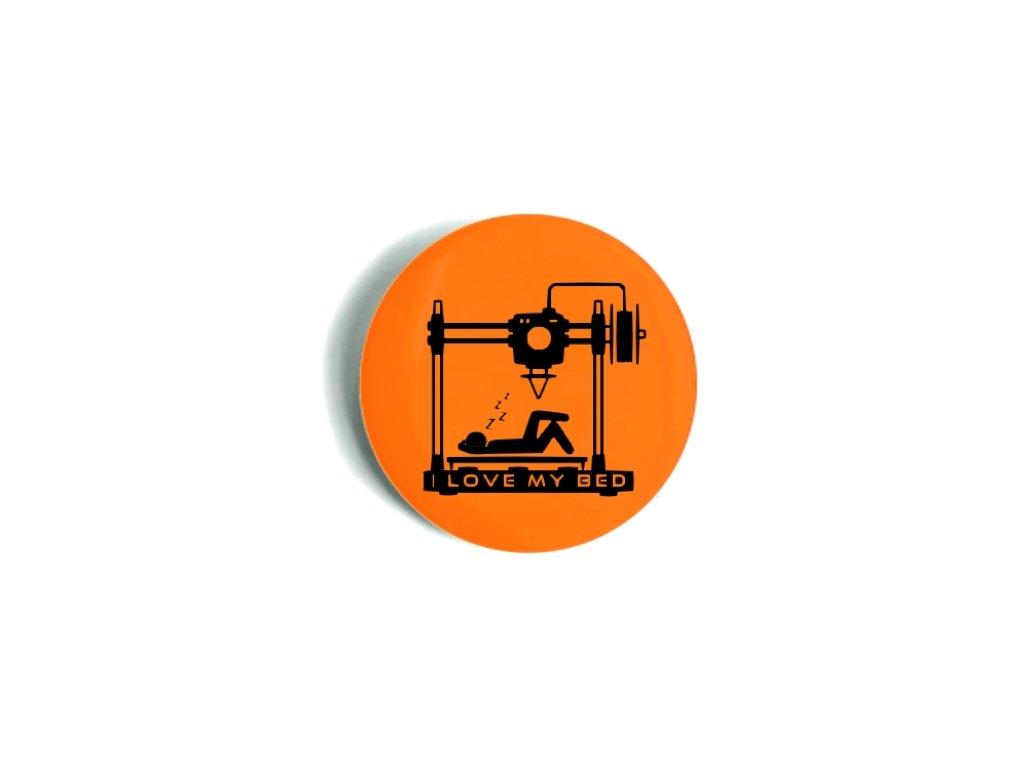 Odznak oranžový I LOVE MY BED