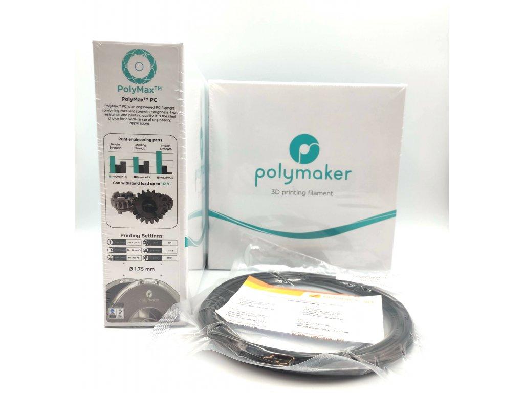 VZORKA 20 METROV - PC PolyMax filament čierny 1,75mm Polymaker