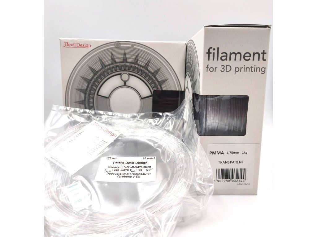VZORKA 20 METROV - PMMA filament transparentný 1,75mm Devil Design