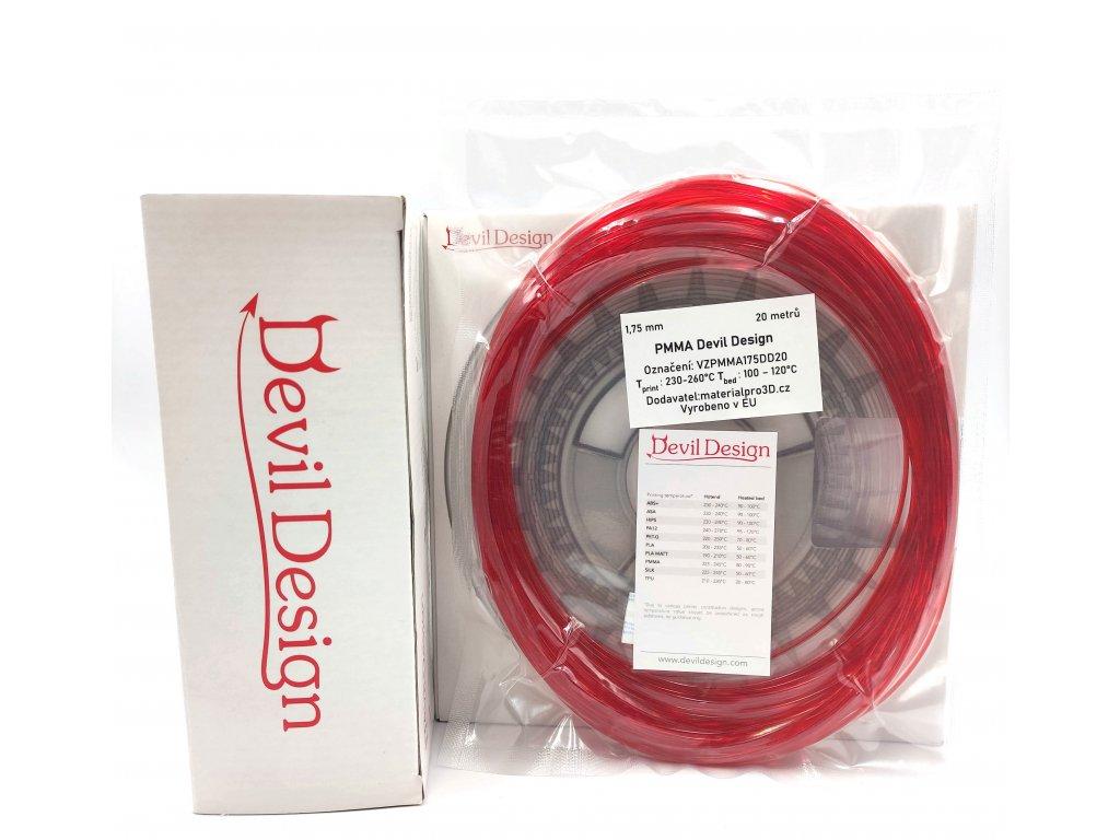 VZORKA 20 METROV - PMMA filament červený TR 1,75mm Devil Design