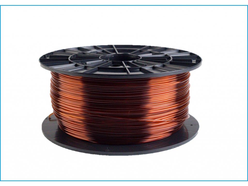 Tlačová struna, Plasty Mladeč, PET-G, 1,75 mm, 1 kg, brown transparent