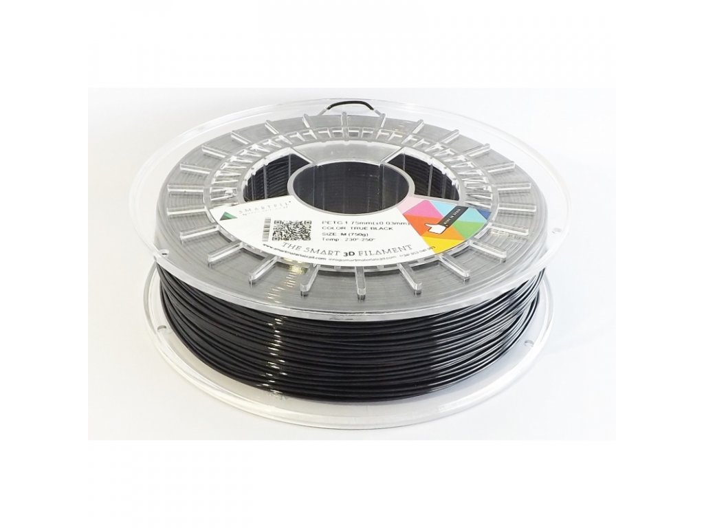 PET G tlačová struna true black 1,75 mm Smartfil