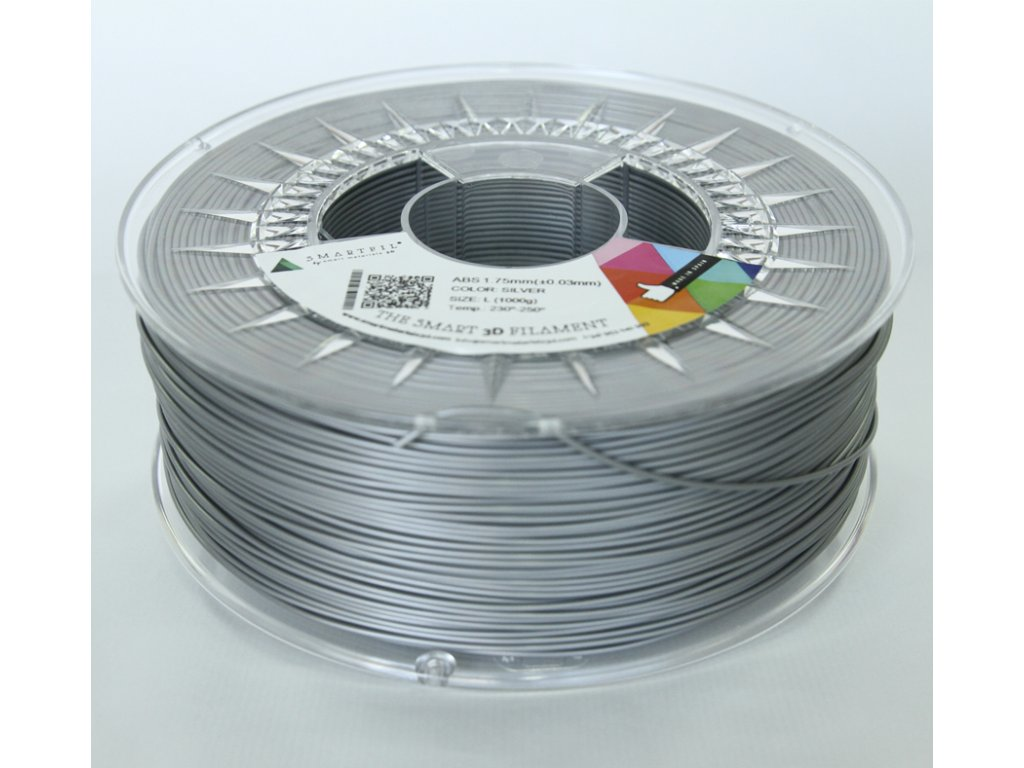 ABS tlačová struna silver 1,75 mm Smartfil