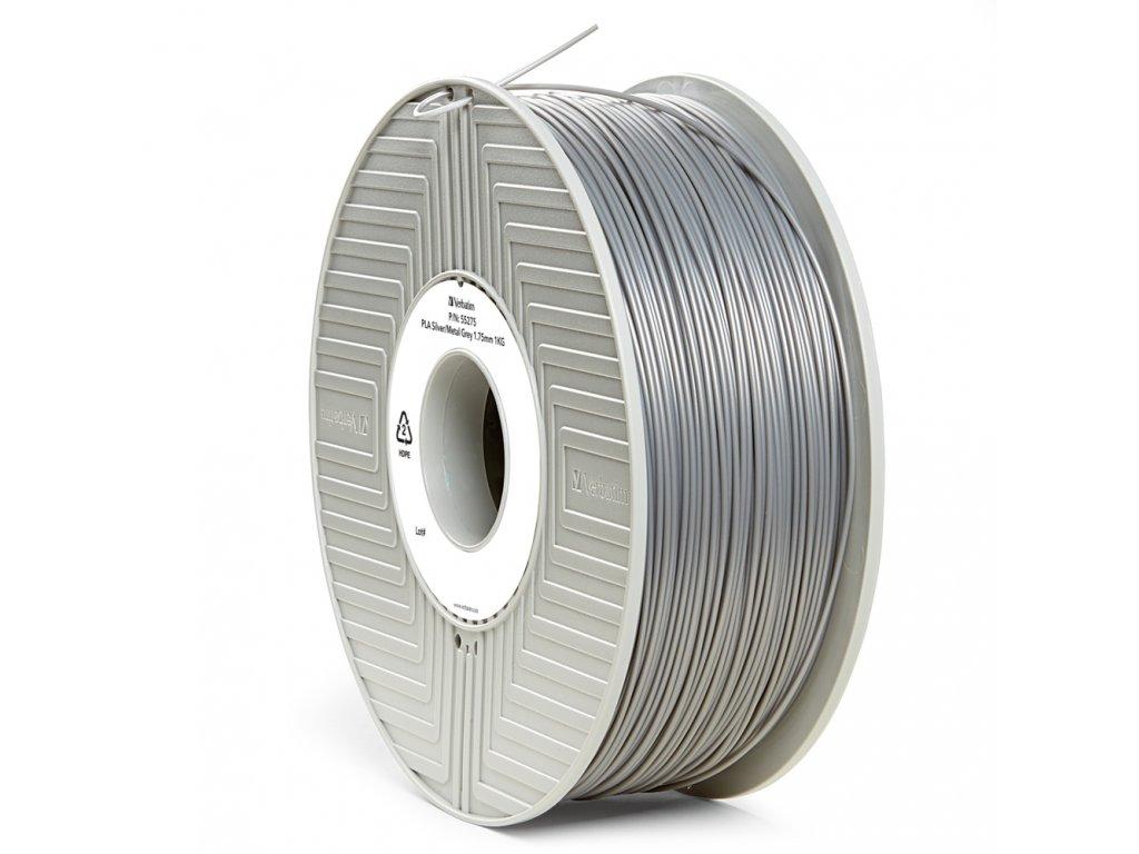 Verbatim tlačová struna PLA, kovovo sivý - silver/metalic grey, 2,85 mm, 1 kg