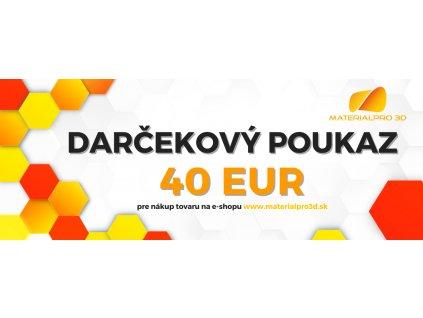 Darčekový poukaz pre nákup v hodnote 40 EUR