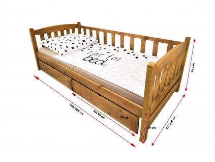 OLGA 2 ágy ágyneműtartóval - tölgy