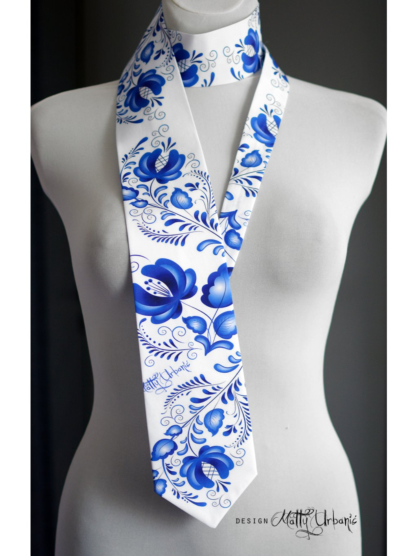 kravata FOLK modrá