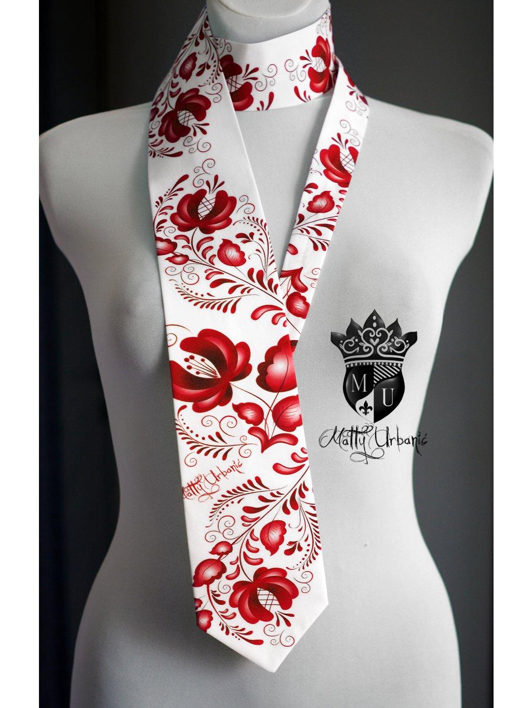 kravata FOLK červená