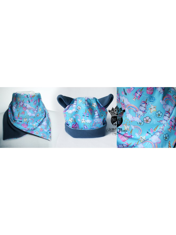 detský set Unicorn BLUE - čiapka + nákrčník