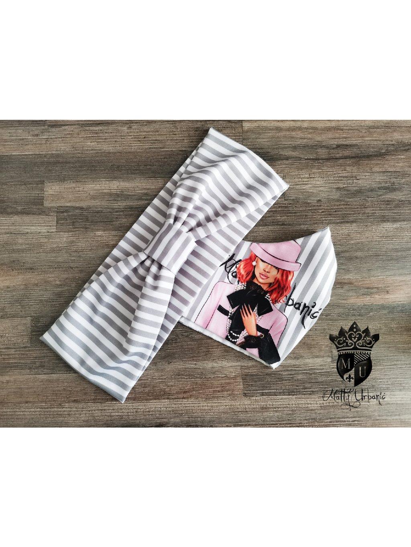 KOMBO - rúško + čelenka Girl PINK