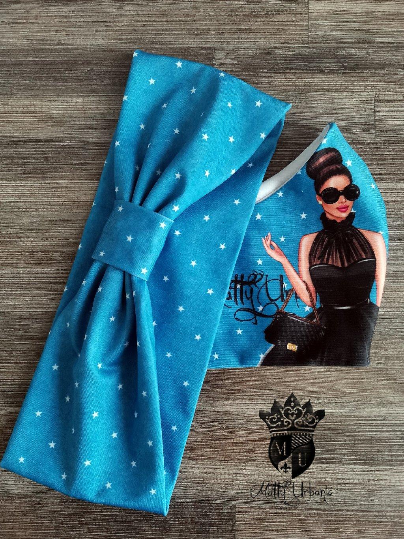 KOMBO - rúško + čelenka Girl STAR