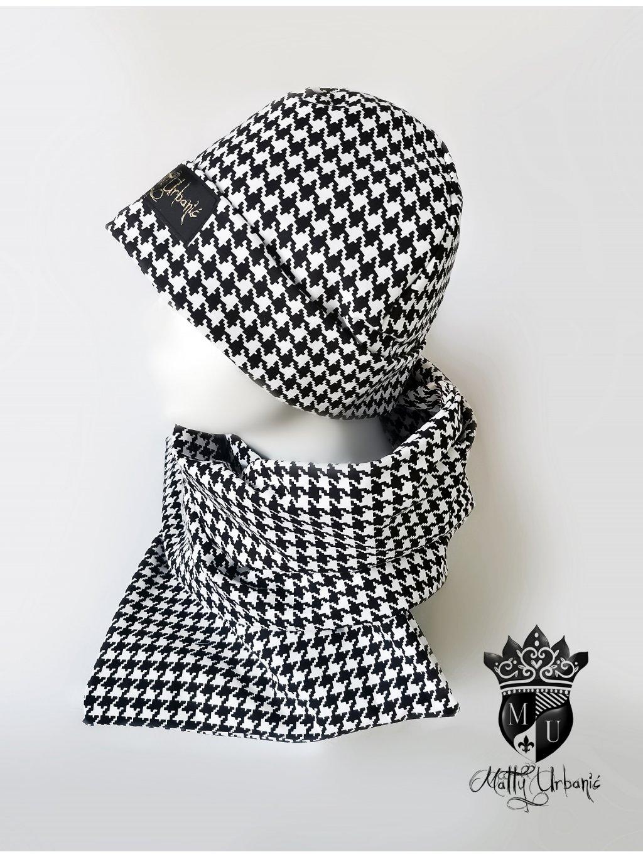 BLACK and WHITE set - čiapka, nákrčník