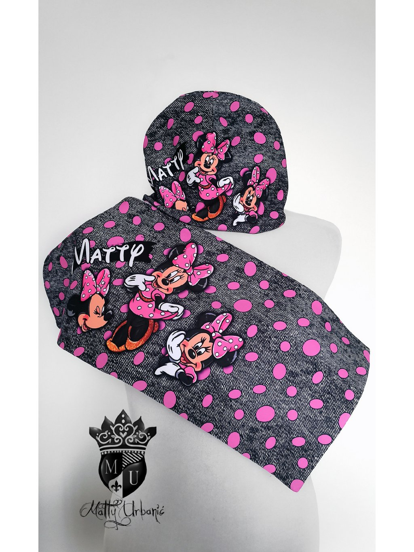 detský set PINK Minnie - čiapka + nákrčník