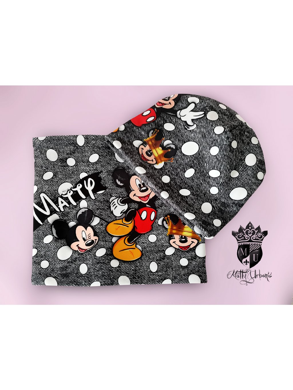 detský set Mickey - čiapka + nákrčník