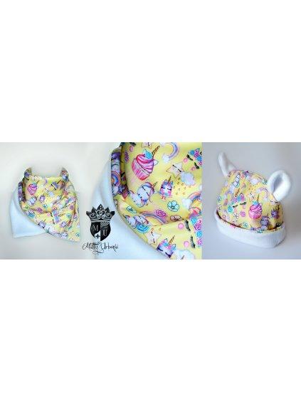 detský set Unicorn YELLOW - čiapka + nákrčník