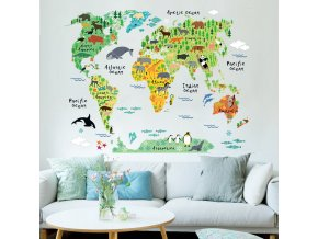 samolepka na zed mapa sveta zviratkova 1