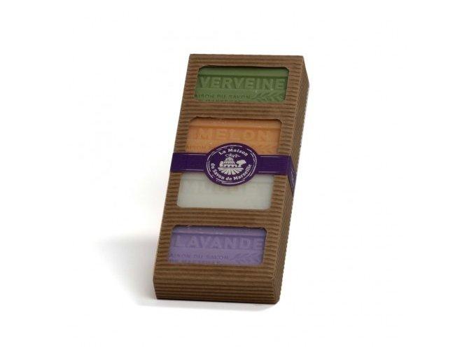 Dárkový set 4 originálních Marseillských mýdel v krabičce 4x 60g
