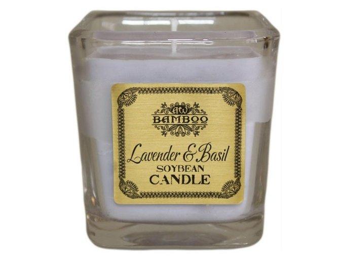 Bamboo sojová vonná svíčka - Levandule a bazalka
