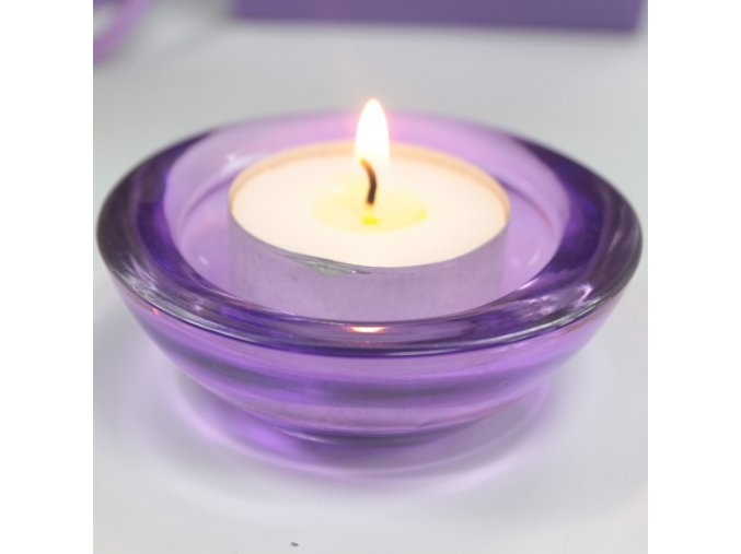 Skleněný svícen na čajovou svíčku purpurová