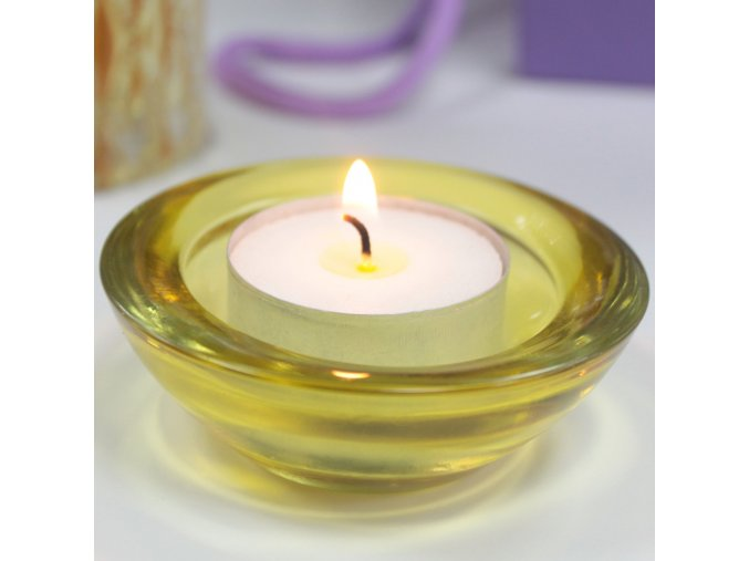 Skleněný svícen na čajovou svíčku jantarová barva