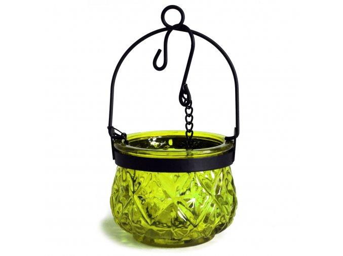 Marocká závěsná lucerna na čajovou svíčku barva mechová zelená