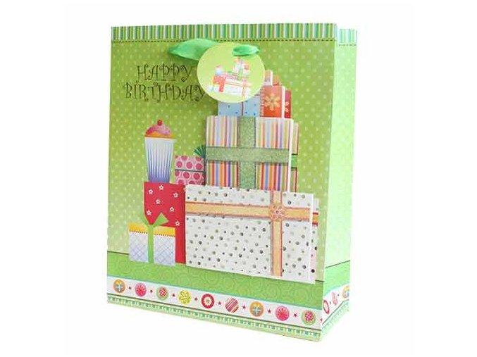Dárková taška zelení - Vše nejlepší k narozeninám