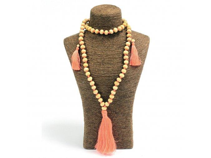 Korálkový náhrdelník z Bali - oranžový MAUR.cz