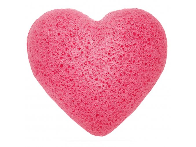 Konjaková houbička na čištění obličeje –Růžové srdce