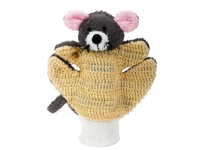 Mycí rukavice - šedá myška