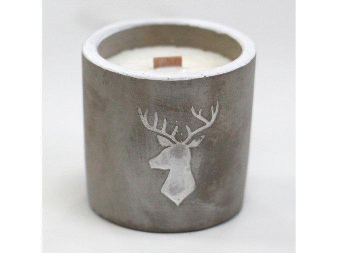 Dřevěná sojová svíčka JELEN - Whisky a Woodsmoke