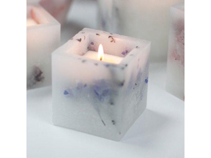 Luxusní sojová svíčka čtverec - levandule