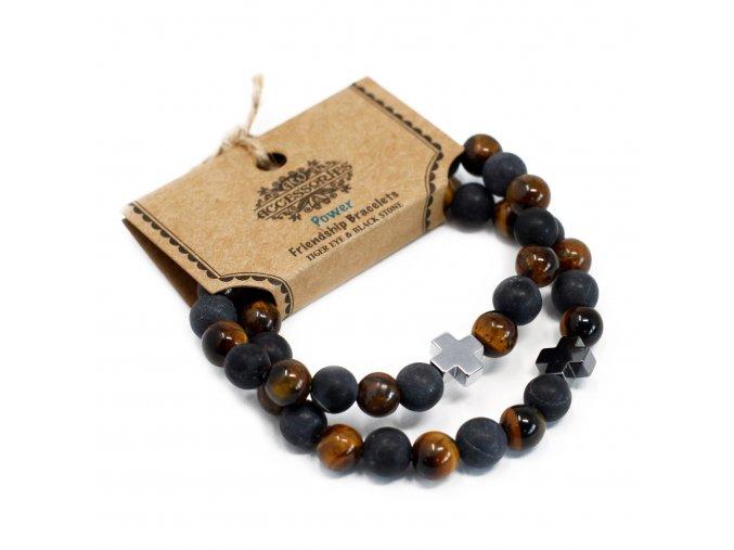 Set 2 Náramků Přátelství z Drahých Kamenů - Síla - Tigří Oko & Černý Kámen