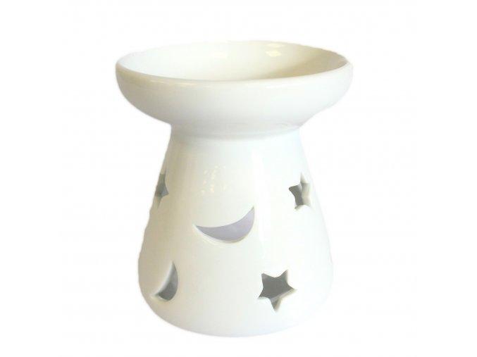 Bílá keramická aromalampa - Měsíc a hvězdy