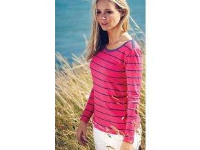 Dámské bambusové triko s dlouhým rukávem - malinová barva s námořnickým proužkem
