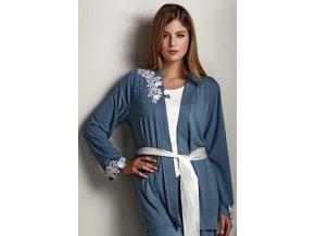 Dámské bambusové pyžamo CARINA s županem - barva modrošedá