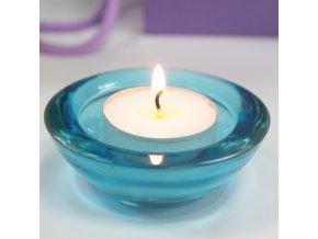 Skleněný svícen na čajovou svíčku světle modrá barva