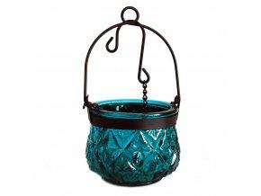 Marocká závěsná lucerna na čajovou svíčku barva modrozelená