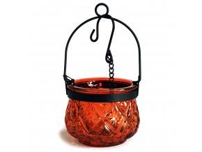 Marocká závěsná lucerna na čajovou svíčku barva jantarová hnědá
